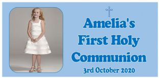 Large Blue Photo First Communion Banner